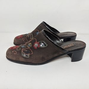 Brighton Fiona Suede Embroidered Floral Mules